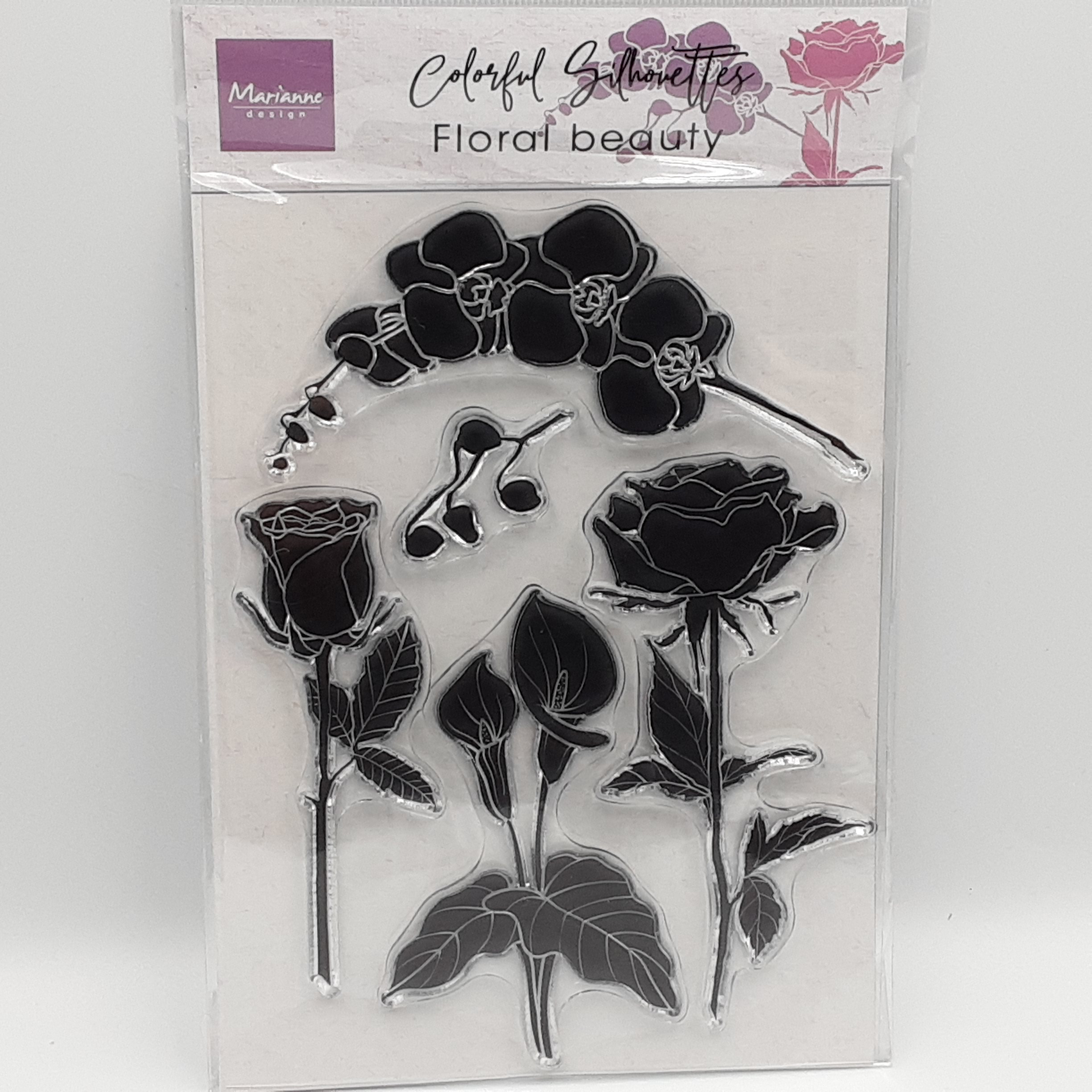 Colorful silhouette floral beauty clear stamp