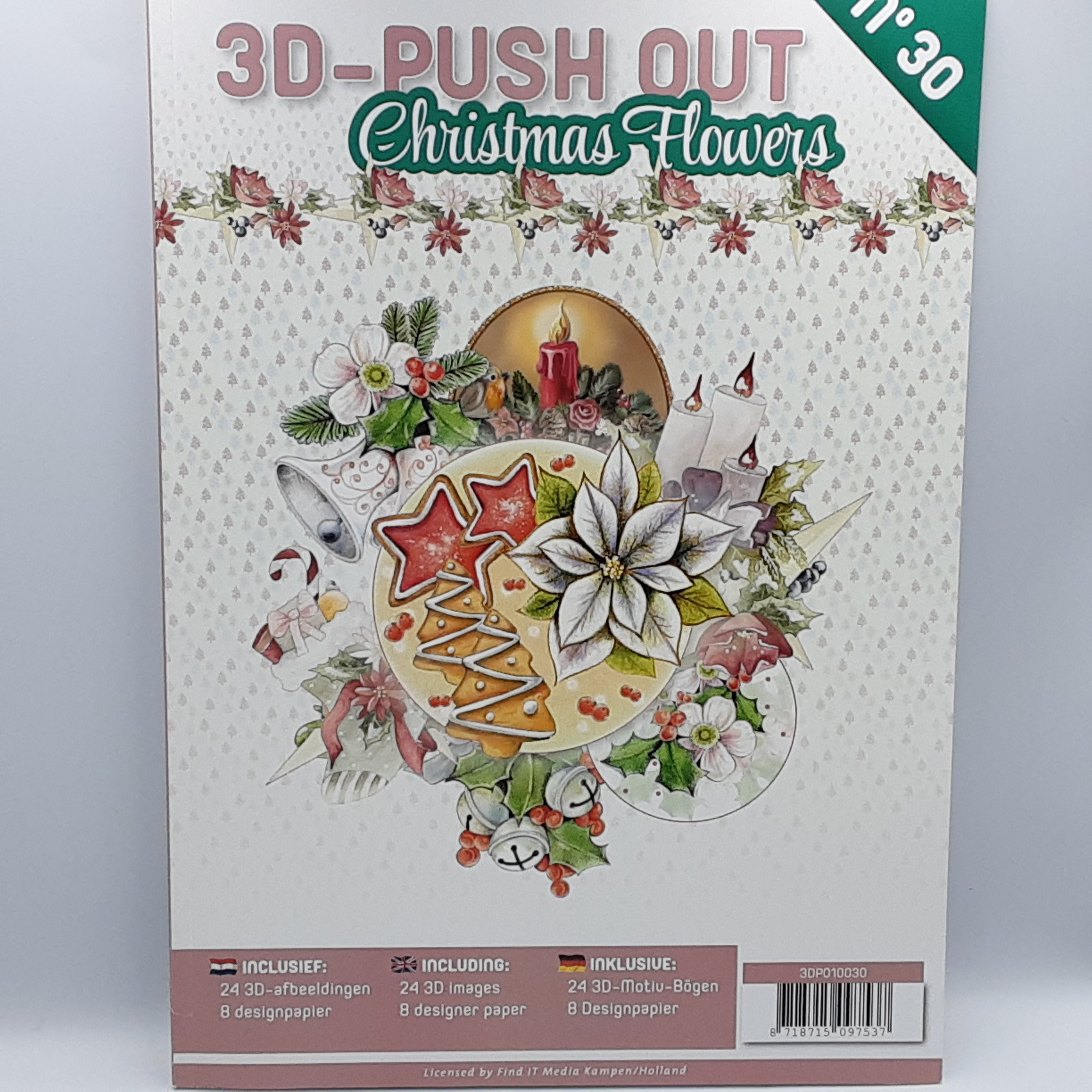 3d push out 30 christmas flowers