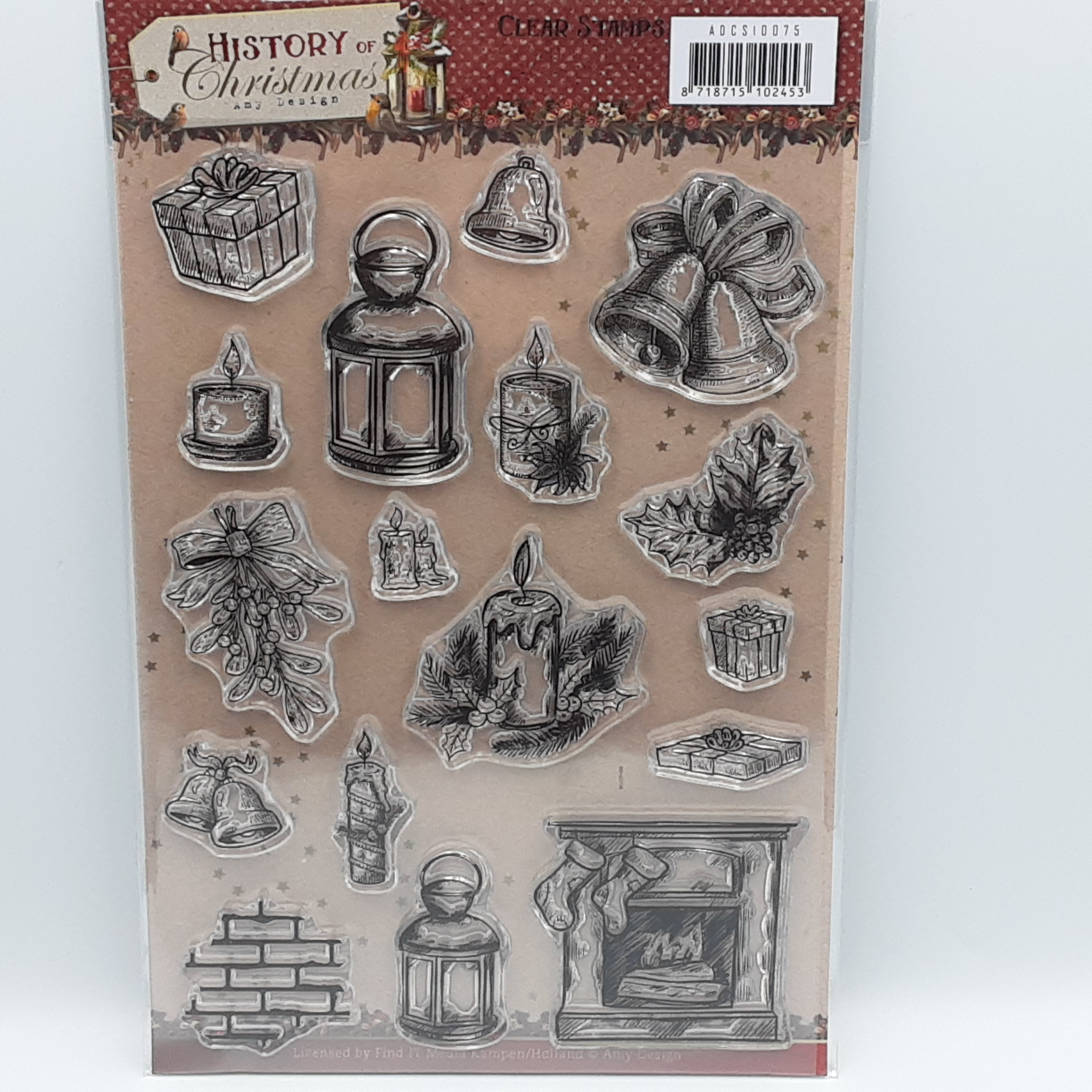 History of christmas clear stamp