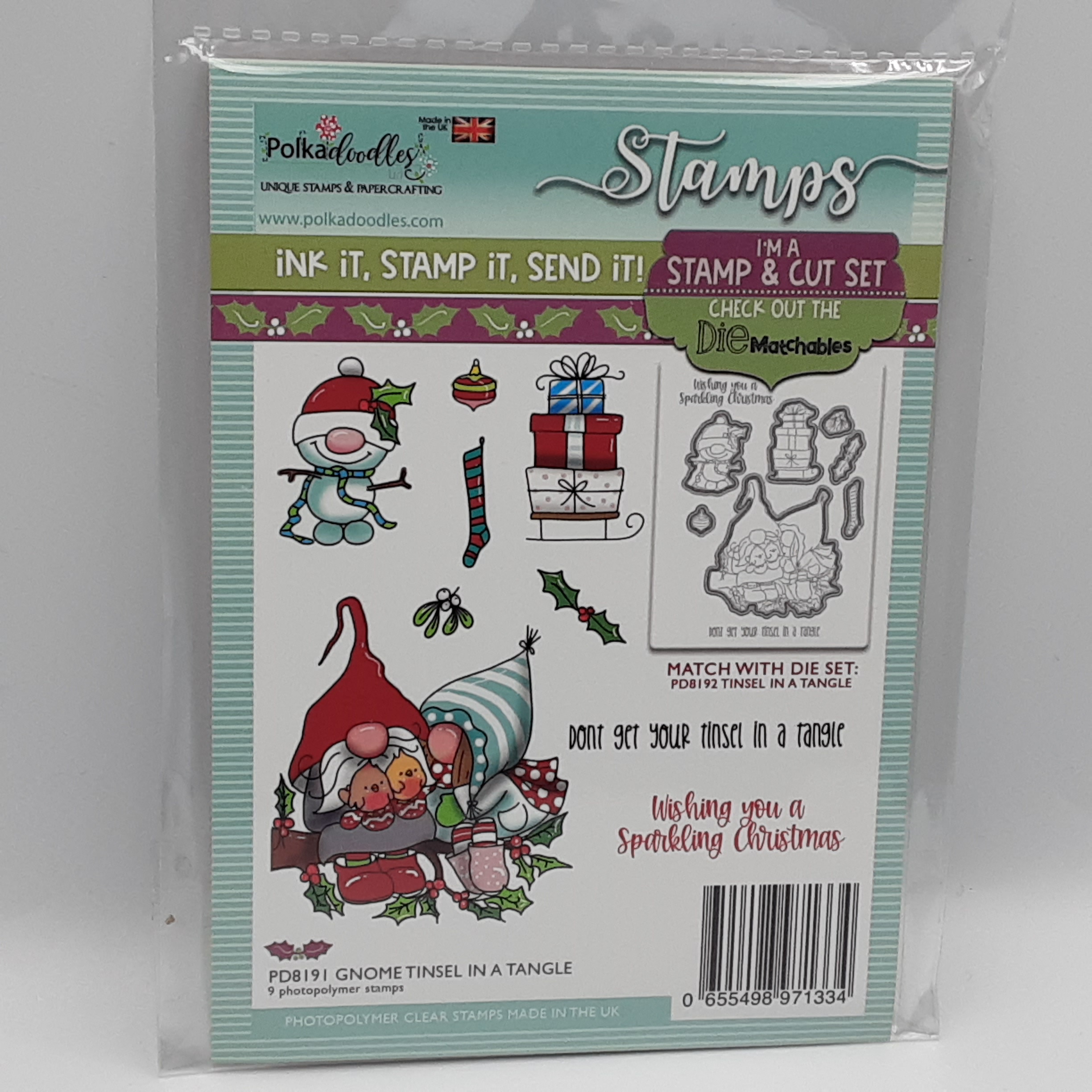 clearstamp gnome tinsel in a tangle