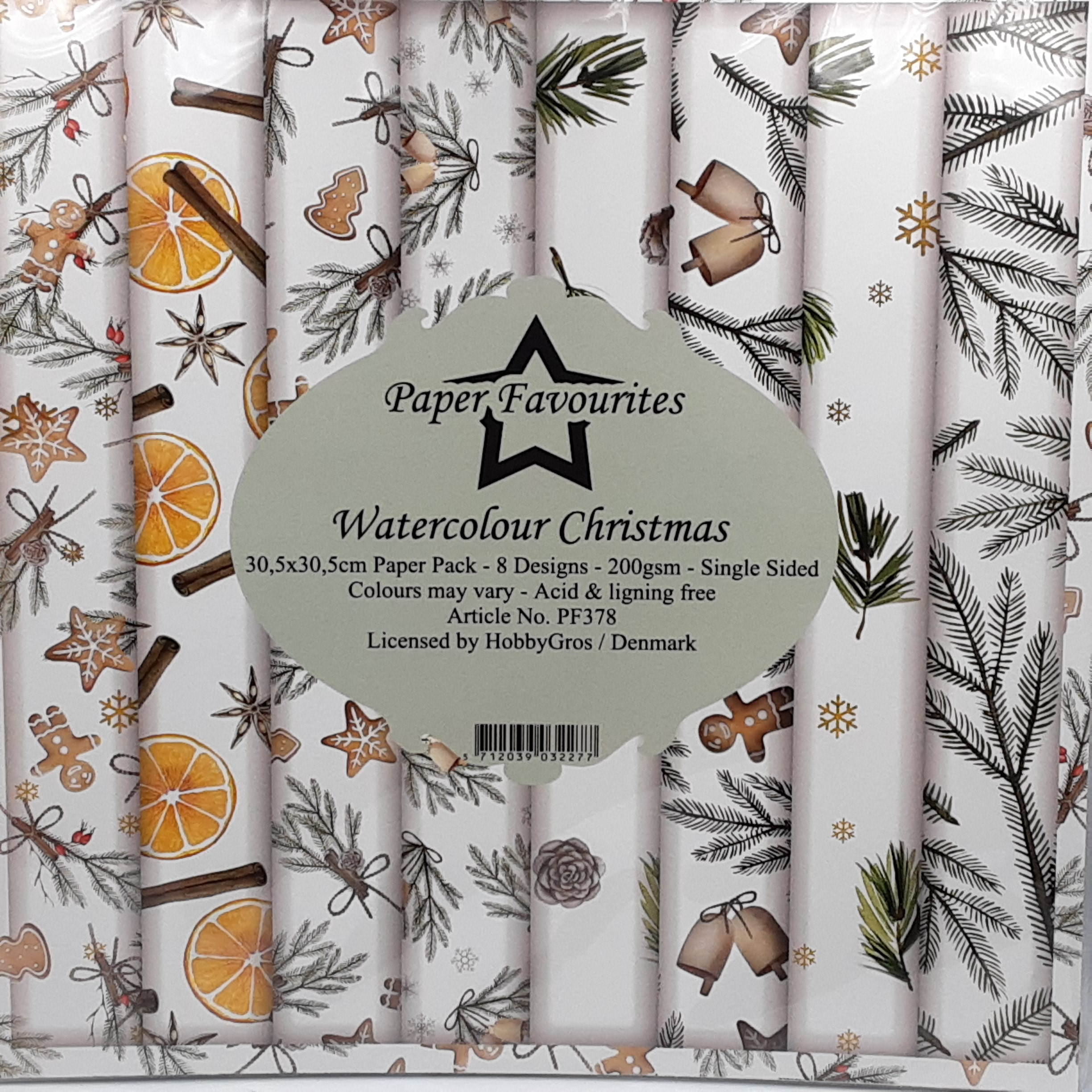 Watercolor christmas 12x12 inch paperpack