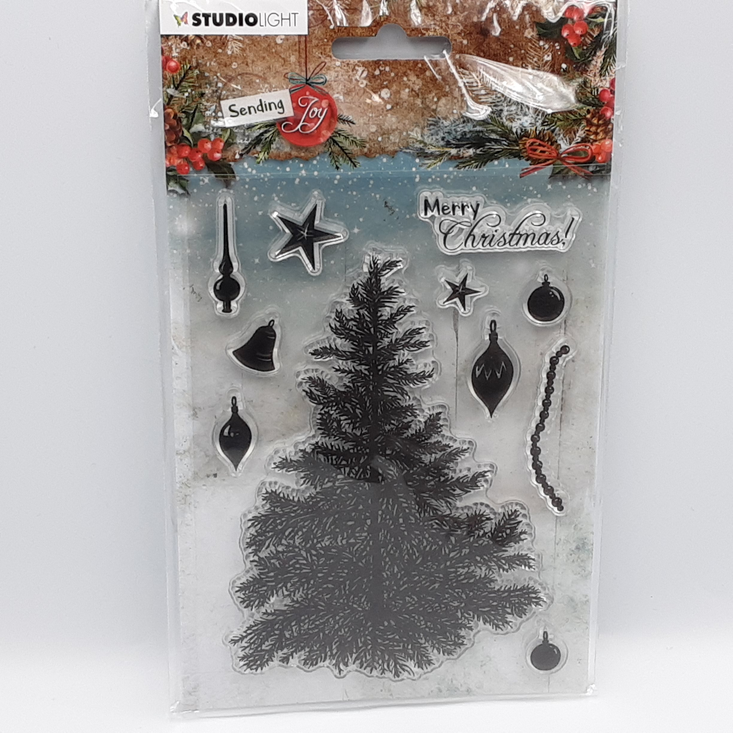 Sending joy building a christmas tree clear stamp